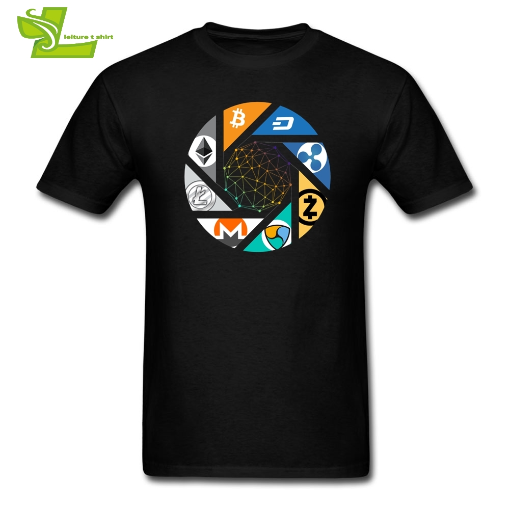 Cryptocurrency T Shirt Bitcoin Ethereum Ripple Litecoin Nem Dash Monero Zcash Mining Blockchain Tees O Neck Men Short Sleeve