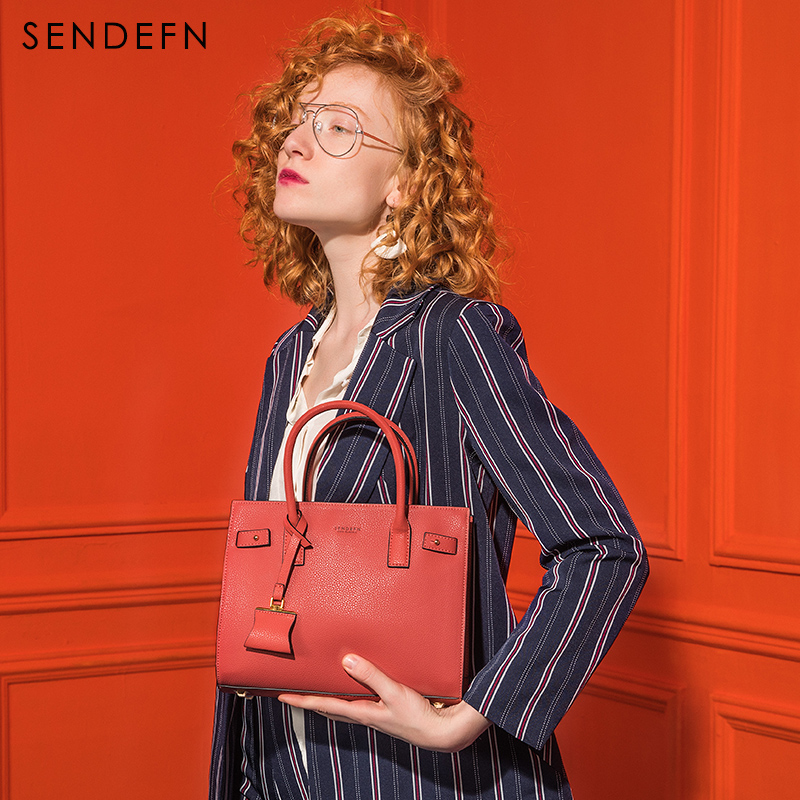 Sendefn 2018 New Arrival Elegant Handbag Large Capacity Women Bag Black Women Leather Handbags Adjustable Strap Can Hold iPad yuanyu 2018 new hot free shipping real python skin snake skin color women handbag elegant color serpentine fashion leather bag