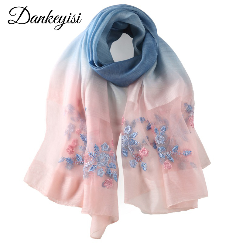 DANKEYISI Women Scarves New Design Silk & Wool Scarf 185*85cm Floral Embroidered Long Shawls Fashion Ladies Wraps High Quality