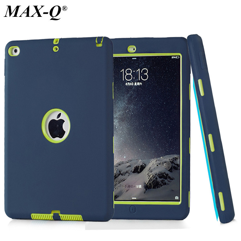 HOT! case For iPad 6 Cover Shockproof Kids Protector Case for apple ipad air 2 case cover PC+Silicone Hybrid Robot+screen film