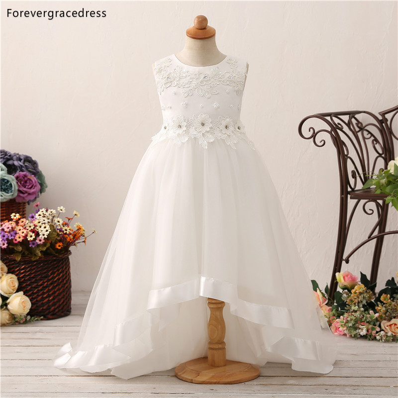 Forevergracedress White   Flower     Girls     Dresses   2019 A Line Cute Jewel Neck Applique Tulle Kids Pageant Children Gowns