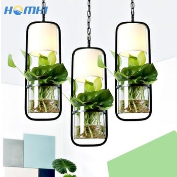 Country flower pot lamp hang glass lamp danish design dining light water glass plant terrarium reception desk pendant lighting