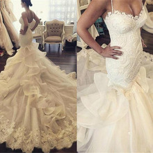 Baroque Summer Sexy Mermaid Wedding Dresses Chapel Train