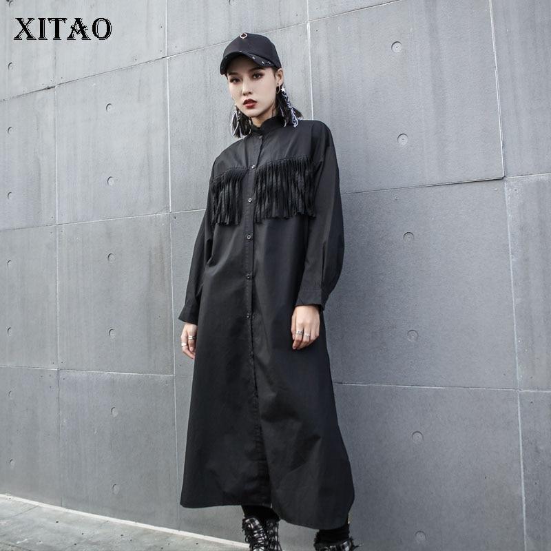 Blouse Nouvelles Collar Hiver Femelle Mode down Corée Lyh2029 2018 Pleine De Black xitao Femmes Turn Gland Couleur Manches Chemise Lâche Solide 5wzUqXx64