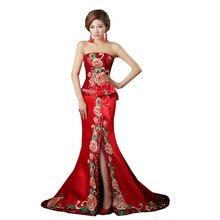 Pailletten Top Langen Roten Abendkleid 2015 Blume Muster Trägerlosen Split Meerjungfrau Kleid Mit Bogen