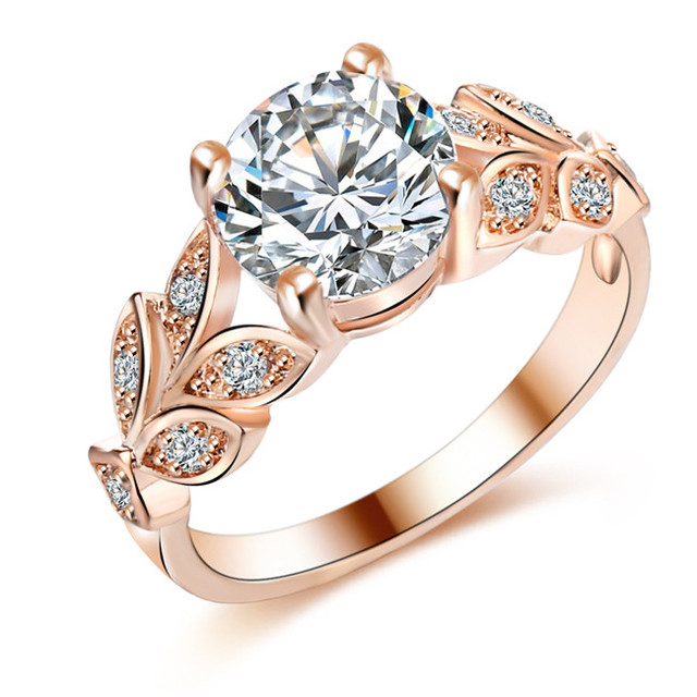 IF ME Wedding Crystal Silver Color Rings Leaf Engagement Gold Color Cubic Zircon Ring Fashion New Brand Bijoux For Women Jewelry