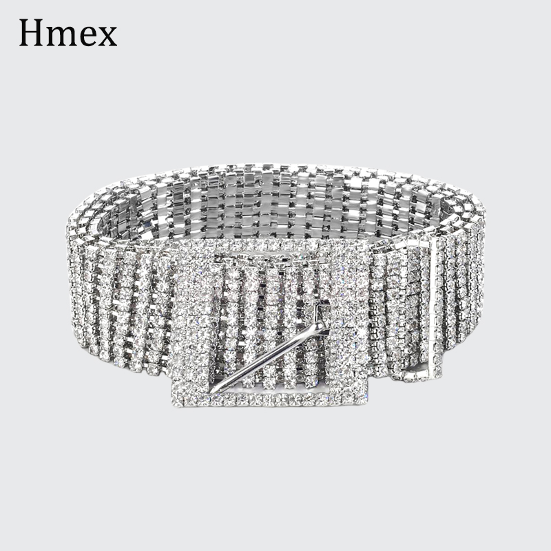Fashion luxury women's Shiny wide   Belts   Waist Chain full rhinestone Crystal Diamond metal bling bride Waistband accessories