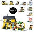 Compatible con Legoed DIY juguetes educativos Villa casa 449 unids monta los juguetes del bloque