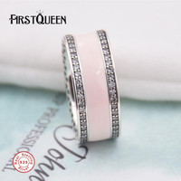FirstQueen Solid 925 Sterling Silver Hearts Of Life Soft Pink Enamel Clear CZ Rings For Woman