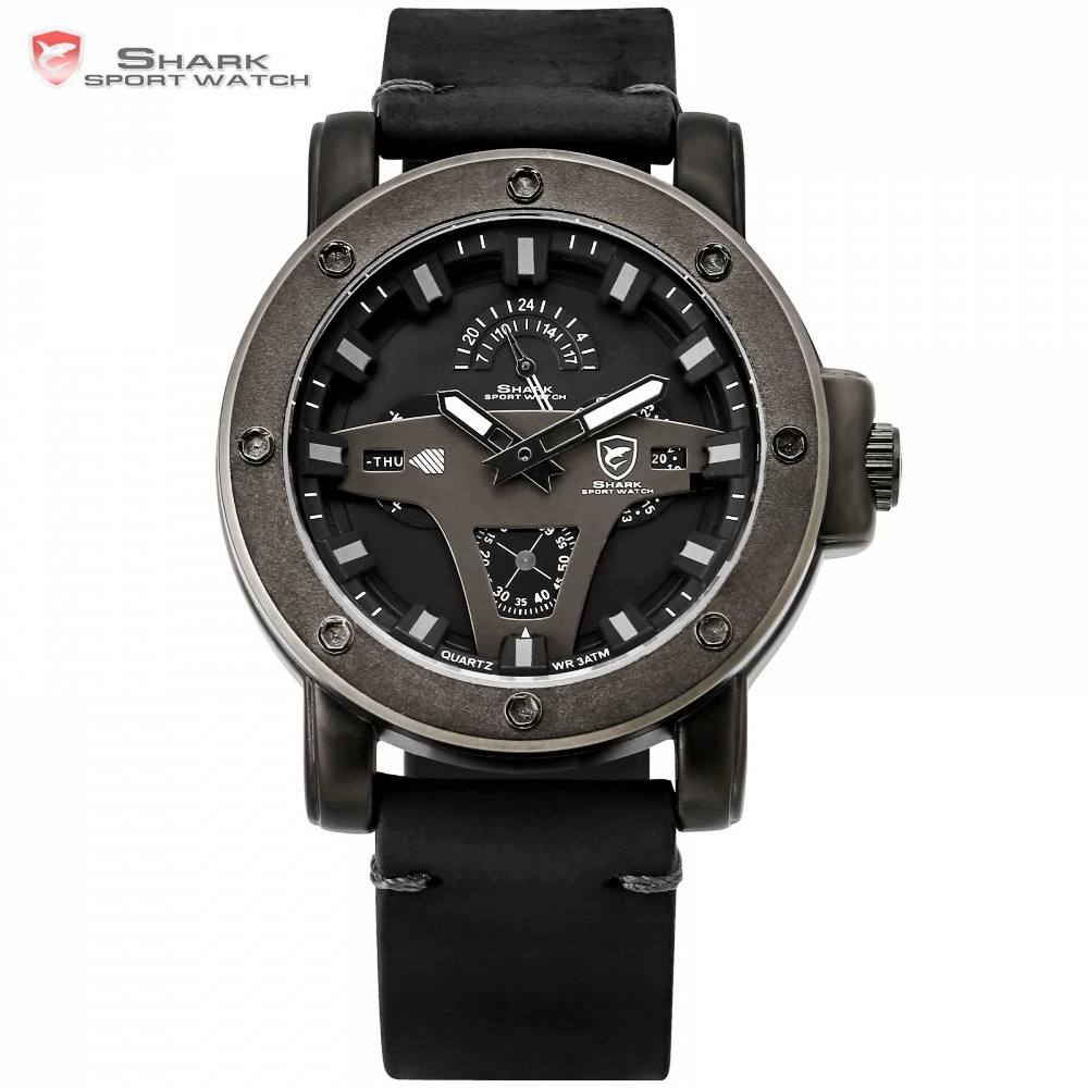 Greenland Shark 2 Series Sport Watch Creative Design Black Date Crazy Horse Leather Quartz Men Watches Masculino Relogio /SH452