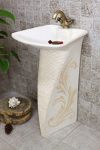 European art of carve patterns or designs on woodwork pillar basin. Luxury the sink
