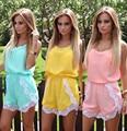 2016 RUIYIGE Verano de Las Mujeres Mujeres Sexy Encaje Moda Loose Mini Damas Playsuit Jumpsuit Shorts Beach Sundress E023