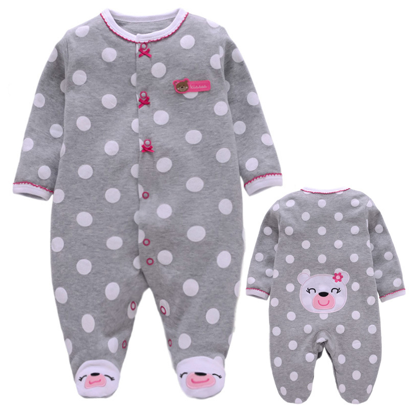 2019 Fashion Baby girl   Romper   Newborn   rompers   Baby Girl   Romper   Long Sleeve Infant Dot Jumpsuits Soft Cotton Baby Clothes Pajamas