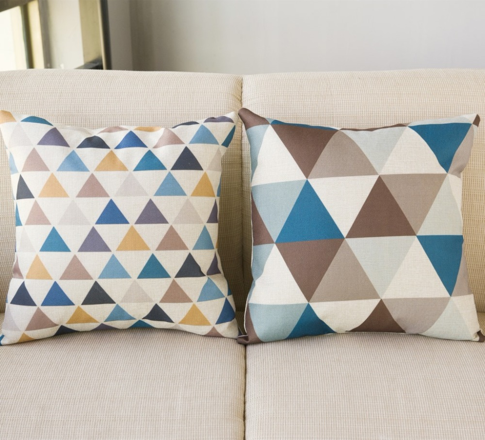 45*45CM Linen Pillowcase Fawn Pattern Square Pillowcase Colorful Triangular Pattern Home Pillow Case Flax Without pillow