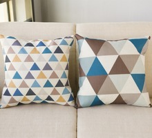 45*45CM Linen Pillowcase Fawn Pattern Square Pillowcase Colorful Triangular Pattern Home Pillow Case Flax Without pillow цена