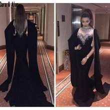 Arabic Dubai Mermaid Black Evening Dresses 2019 Beaded Crystal High Neck  Red Abaya Kaftan Long Arabic c8811ea2f445