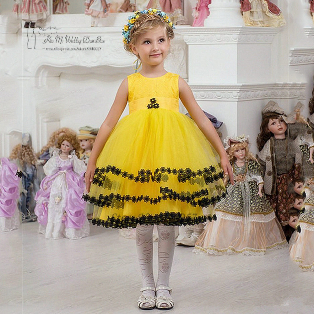 Yellow Lace First Communion Dresses for Girls Black Pageant Dresses ...