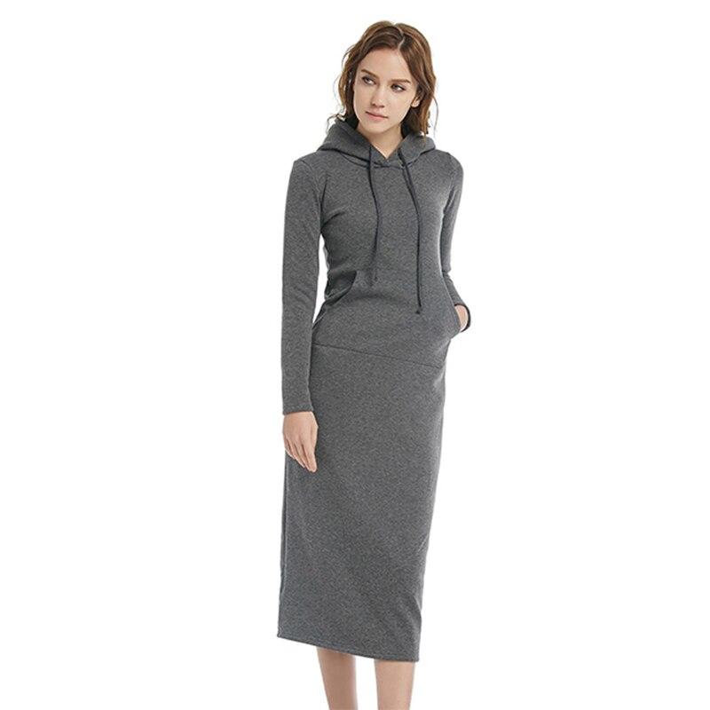 Women gray Casual Hooded Dress Long Paragraph Dress Add a Velvet High Waisted Long Sleeved 2016 Autumn Cotton Winter Dress