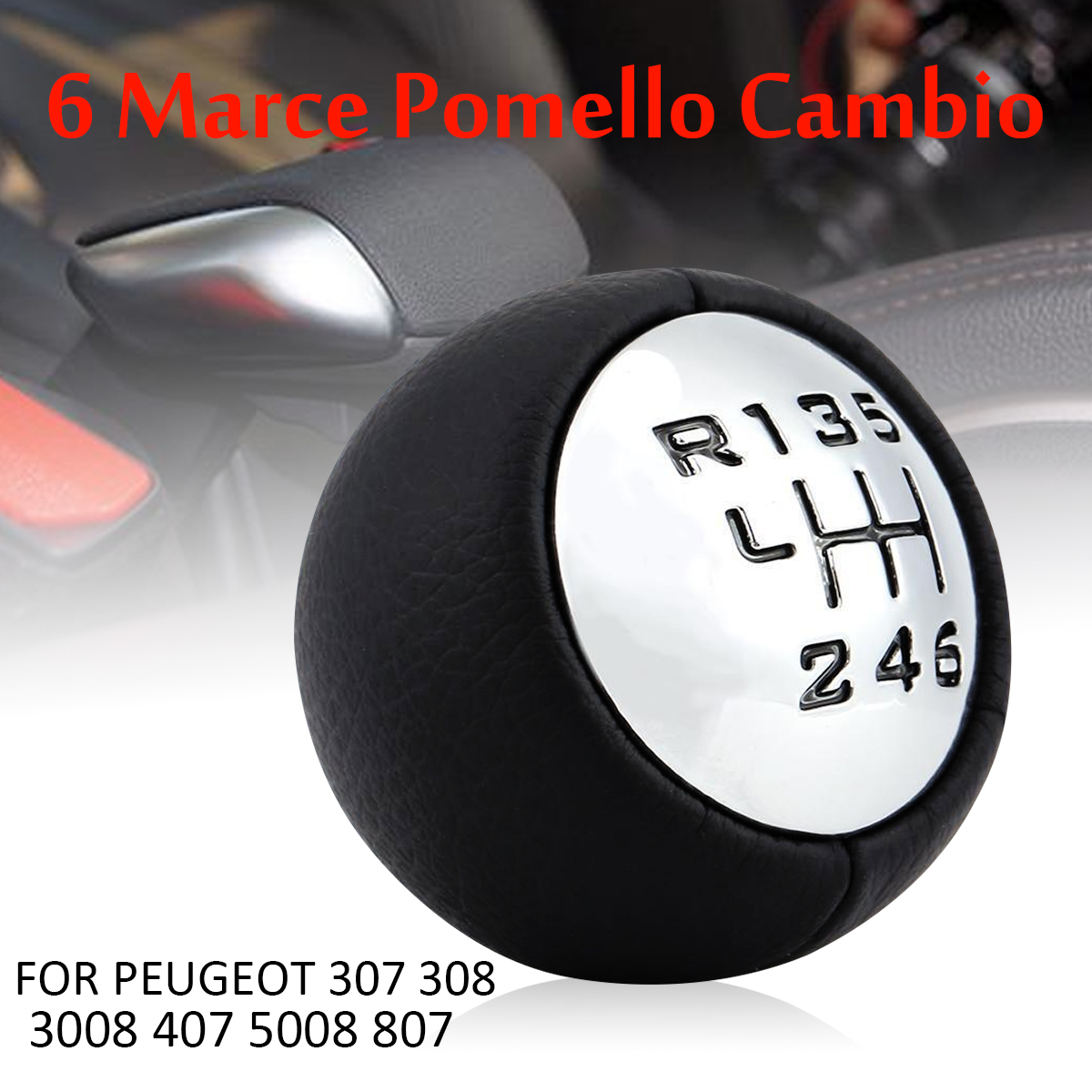 6 Speed Car Gear Shift Knob Shifter Stick Head For Peugeot 307 308 407 Fuse Box 3008 5008