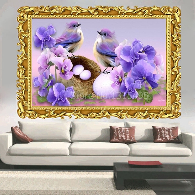 Diy diamond painting embroidery birds with flowers cross stitch diamond mosaic bird pattern fabric wall sticker