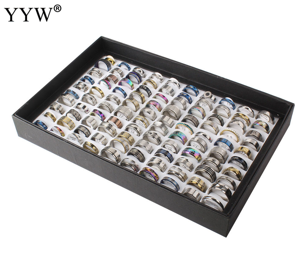 100PCs mixed styles men's womens finger ring stainless steel jewelry rings silver ring wholesale by lots US Ring Size:5.5-10