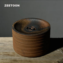 Zen Japanese Style Vintage Coarse Pottery Teapot Holder Tea Tray Kung Fu Tea Set Water Storage Bowl Tank Creative Home Decor New(China)
