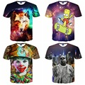 High quality loose short sleeve round neck 3D digital creative clown character animal pattern boy t shirt 14 - 20 years