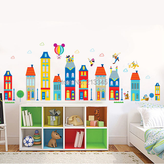 saturday monopoly diy wall sticker mickey house building design decals cartoon baby room children