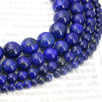Lapis Lazuli Round Loose Beads 4 6 8 10mm Size Optional 15 Inch DIY Wholesale Fit