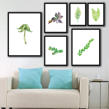 Nordic Style Modular Plant Leaves Poster Painting Watercolor On Canvas For Living Room Decoration Prints Pictures Home Wall Art