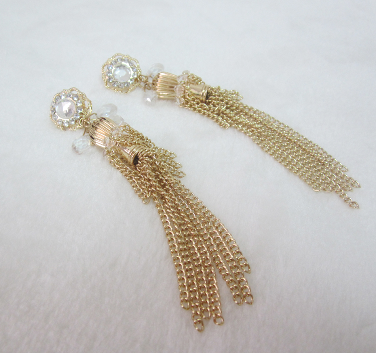 New design gold chain tassels stud earrings for women fashion punk ...