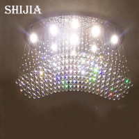 Wholesale Free Shipping Oval Curtain Wave Modern Chandelier Crystal Lamp Living Room Light Size L1000 W500