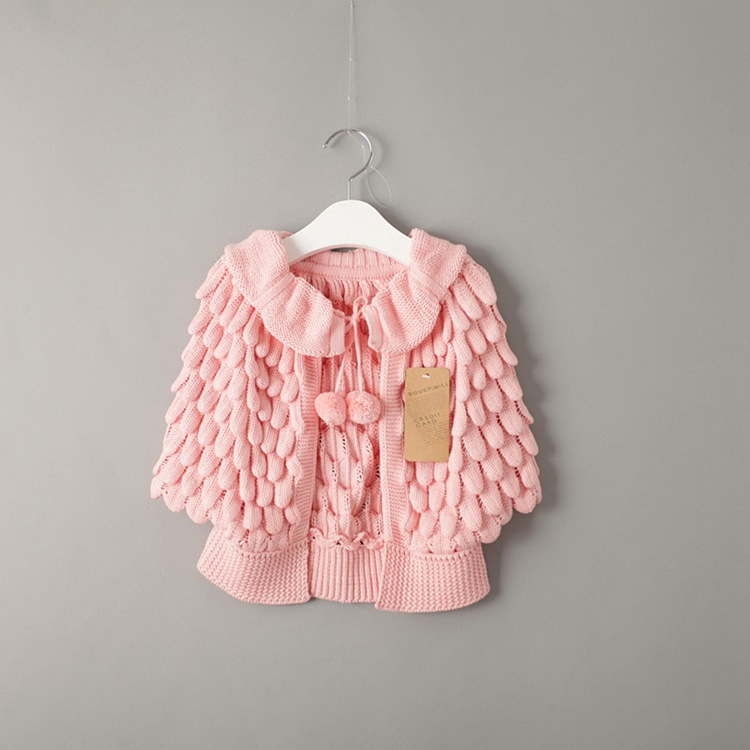 a2dc390bc Everweekend Cute Girls Knitted Crochet Candy Color Sweater Cardigan Jackets  Pink Red Yellow Black Color Children Outwears