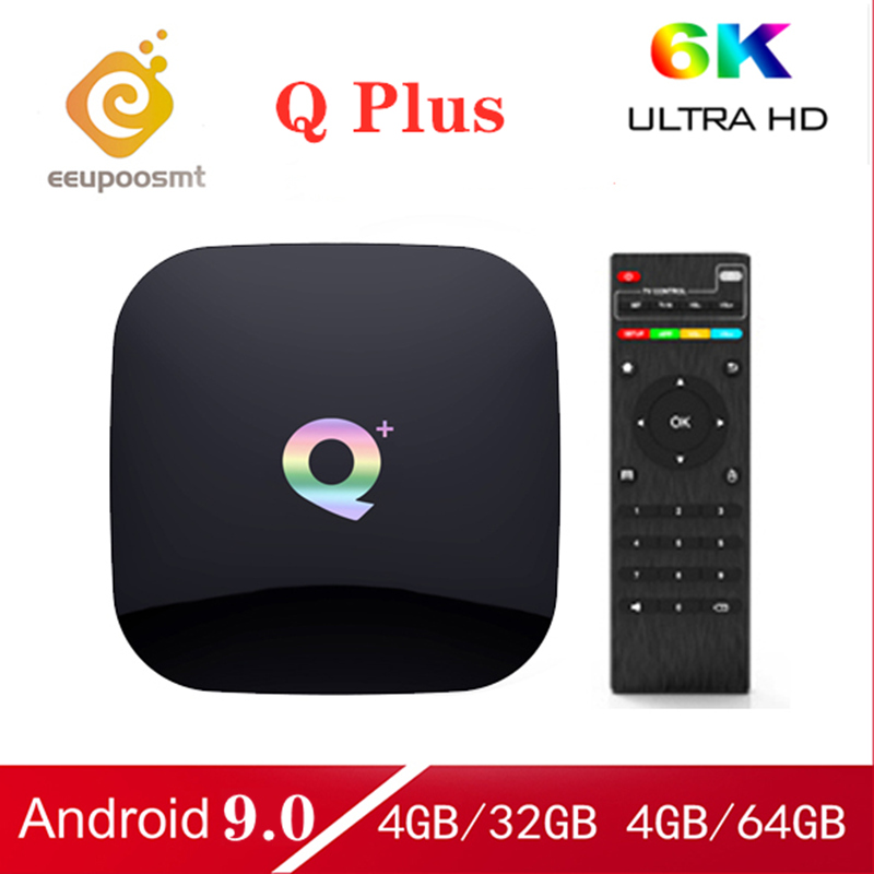 Android 9.0 TV Box Q Plus Box 64GB 4GB 32GB Smart TV Box Allwinner H6 Quad Core 6K H.265 2.4GHz Wifi Youtube décodeur PK X96