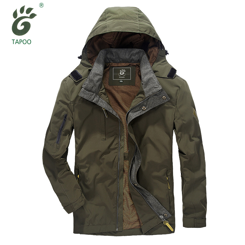 TAPOO brand windbreaker jacket men zipped multi pockets breathable waterproof jacket trench mens outwear jacket hooded coat