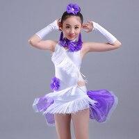 Girls Tassels Latin Dancing Dress Kids Samba Dancewear Costumes Outfits Children Professional Ballroom Salsa Latin Fringe