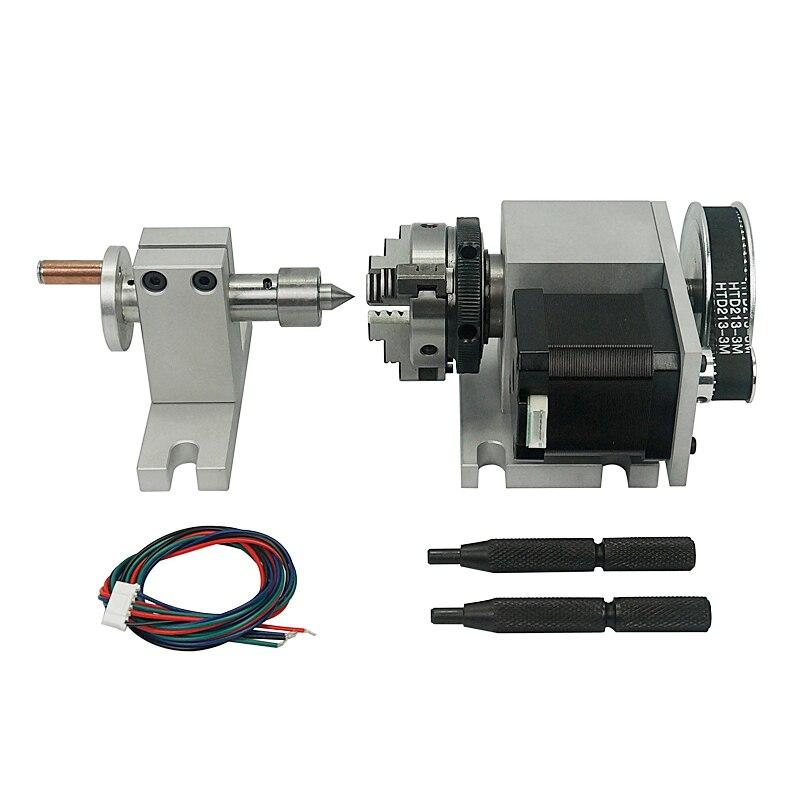 Deux phases 42 moteur pas à pas (4:1) K-50 44mm 3 mâchoires mandrin CNC 4th axe A aixs rotatif + poupée mobile pour routeur de CNC