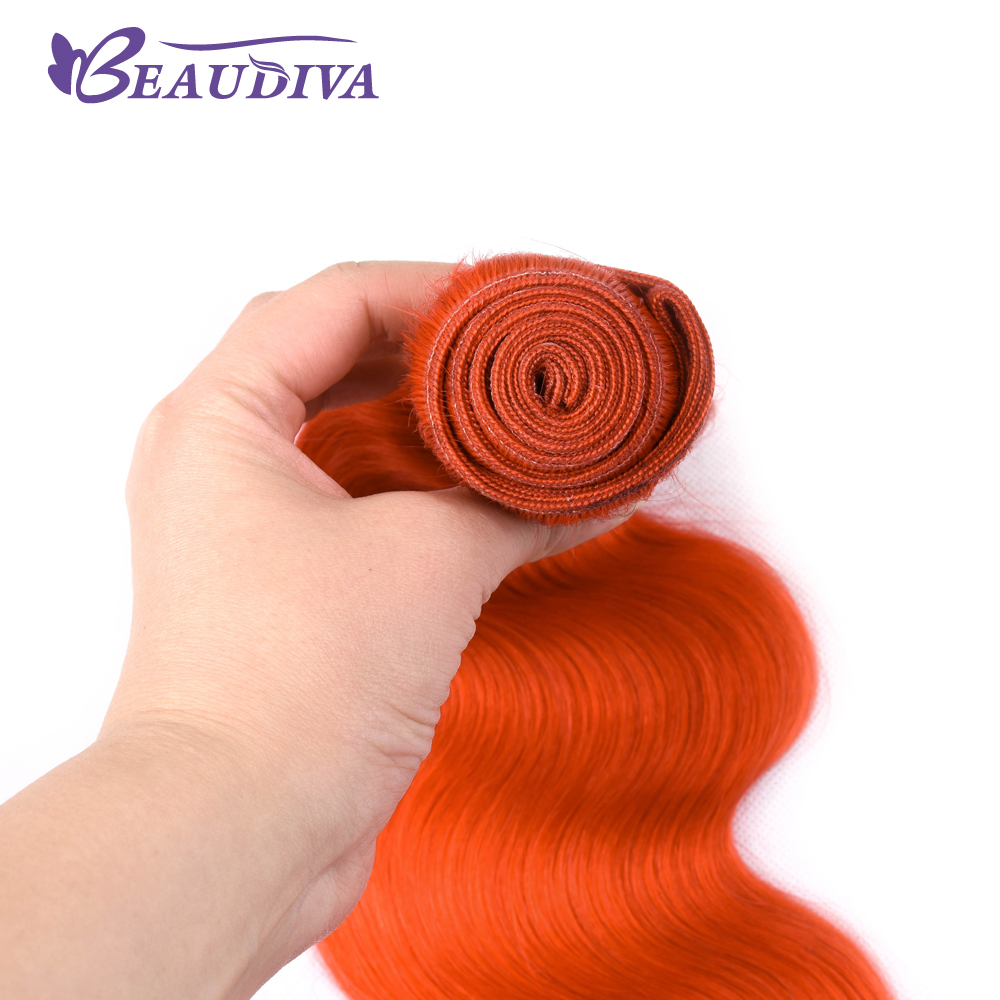 BEAU DIVA Three blundle 10inch-26inch Orange Red Color Body Wave Hair Weave Bundles 100% Human Hair Bundles Remy Hair Extension