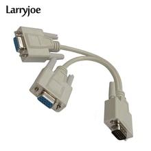 Larryjoe 15 Pin VGA macho a 2 hembra Y divisor Cable Monitor SVGA Adaptador convertidor de extensión Cable de vídeo plomo para PC,TV