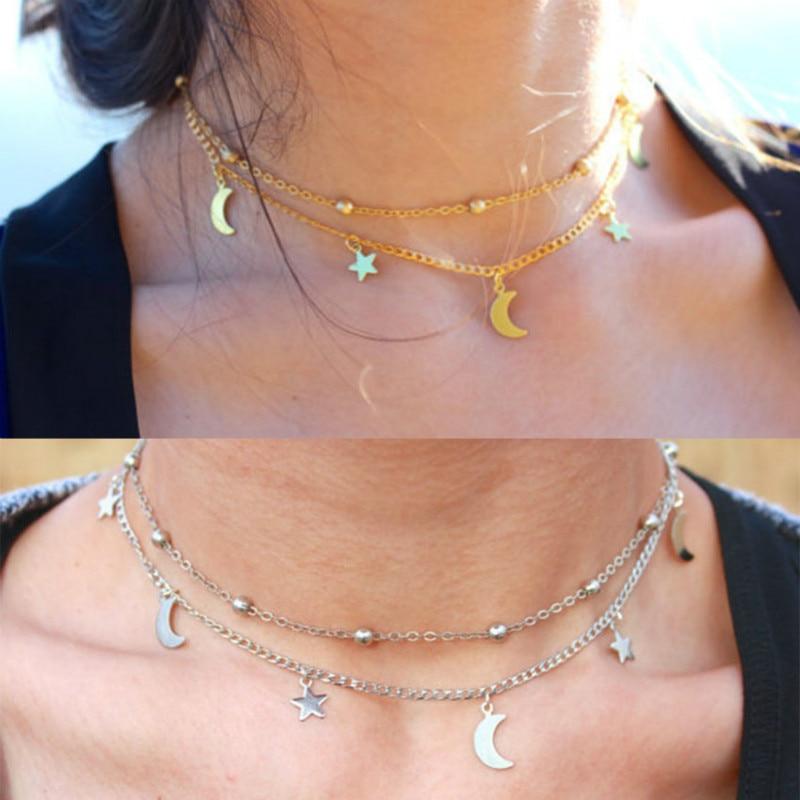 dbb6d55a9d64 Capa Doble de las mujeres Clavícula Collar de Oro de Color Plata Estrellas  Luna Colgantes Collares