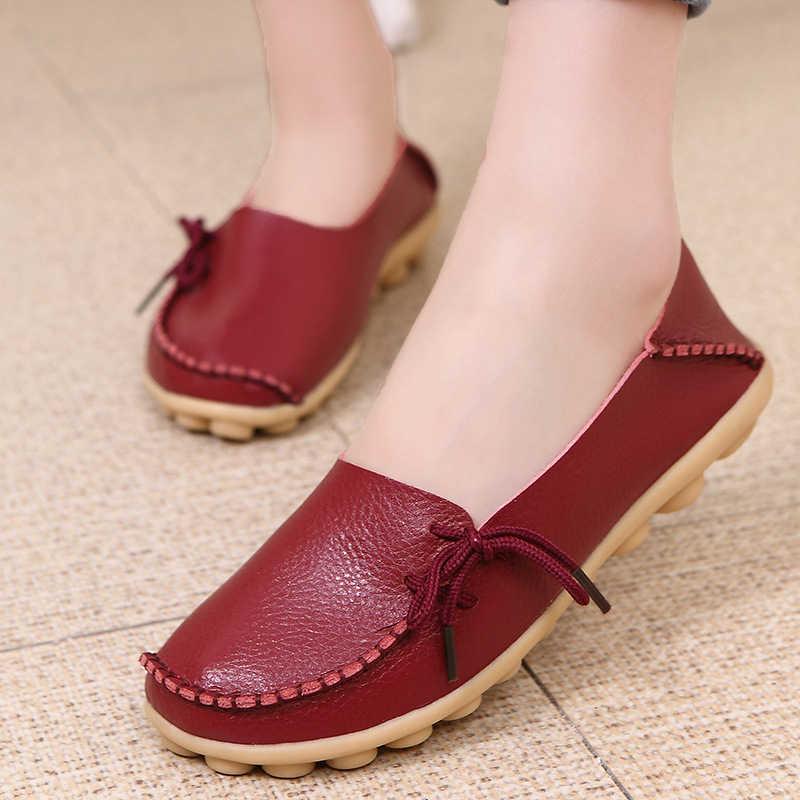 Vrouwen flats 2018 Zomer vrouwen slipony echt lederen schoenen slip op ballet bowtie mocassins ballet flats vrouw schoenen 24 kleuren