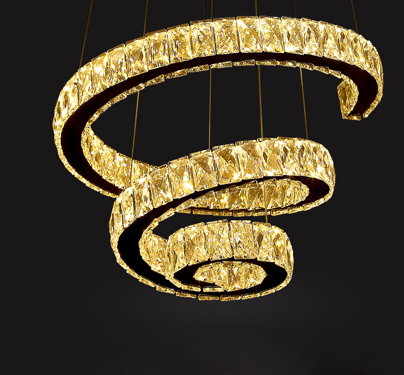 Creative Design Modern LED Chandelier Lighting Double Rings Hanging Dining Room Light  1