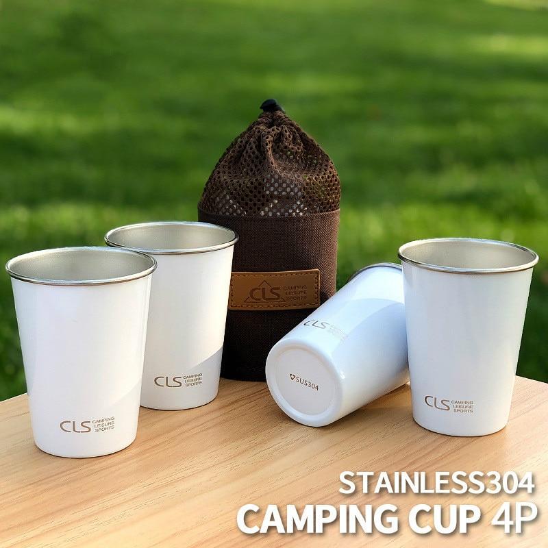 4 pcs ao ar livre copo de aco inoxidavel acampamento piquenique churrasco cerveja montanhismo agua cha