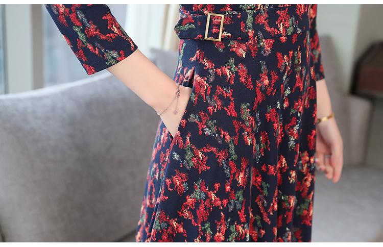 Autumn Winter New 3XL Plus Size Vintage Midi Dresses 2018 Women Elegant Bodycon Floral Dress Party Long Sleeve Runway Vestidos 46