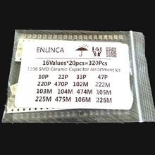 16ValuesX20pcs = 320 pièces 10PF 22UF ensemble de condensateurs électroniques 1206 0805 0603 kit dassortiment de condensateurs en céramique SMD
