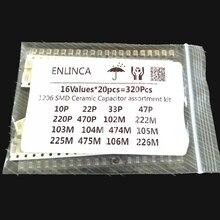 16ValuesX20pcs=320Pcs 10PF 22UF Electronic Capacitor set 1206 0805 0603 SMD Ceramic Capacitor assortment kit