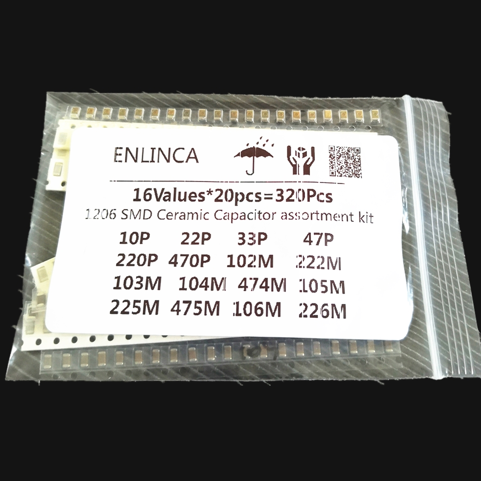 16ValuesX20pcs=320Pcs 10PF-22UF Electronic <font><b>Capacitor</b></font> set 1206 <font><b>0805</b></font> 0603 <font><b>SMD</b></font> Ceramic <font><b>Capacitor</b></font> assortment kit image