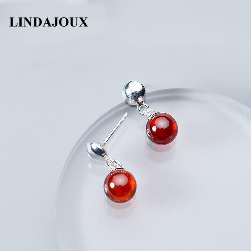 LINDAJOUX Clear Red Zircon Cherry 925 Sterling Silver Stud Earrings For Women sterling-silver-jewelry Small Studs Earring