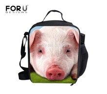 Forudesigns 3d свинья обед сумки для школьников на новый год дети прохладный дизайнер lunch box дети пикник тепловой lunchbox