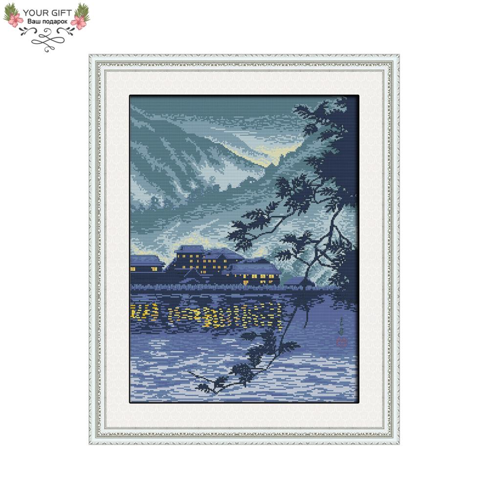 Joy Sunday F912 Free Shipping 14CT 11CT Counted and Stamped Home Decoration Household By The River (Celadon) China Cross Stitch